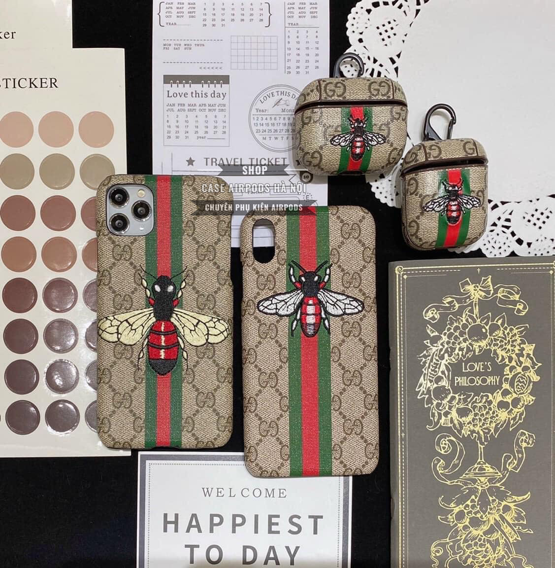 Combo ốp lưng iPhone Case Airpods Gucci Ong Thêu